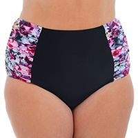 Plus Size Cyn and Luca Floral High-Waisted Bikini Bottoms