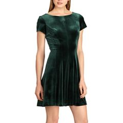 Petite Chaps Velvet Fit & Flare Dress