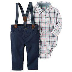 Baby Boy Carter's Plaid Bodysuit & Pants with Suspenders Set