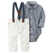 Baby Boy Carter's Gingham Bodysuit & Pants with Suspenders Set
