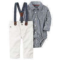 Baby Boy Carter's Gingham Bodysuit & Pants with Suspenders Set