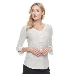 Women's Dana Buchman Textured Button-Accent Top