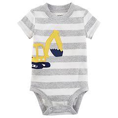 Baby Boy Carter's Digger Striped Bodysuit