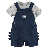 Baby Boy Carter's Dinosaur Tee & 3D Spikes Shortalls Set