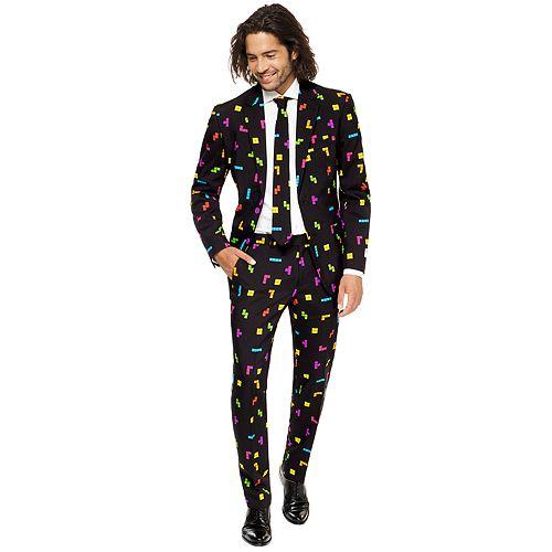 Men's OppoSuits Slim-Fit Tetris Novelty Suit & Tie Set