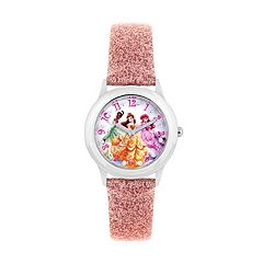 Disney Princess Belle, Ariel & Tiana Kids' Glittery Leather Watch