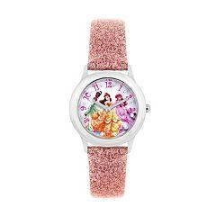 Disney Princess Belle, Ariel & Tiana Kids' Glittery Leather Watch