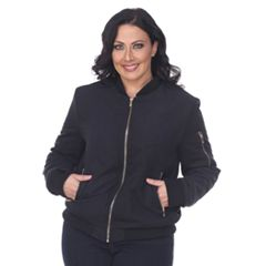 Plus Size White Mark Bomber Jacket