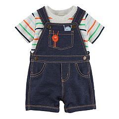 Baby Boy Carter's Striped Tee & Monster Shortalls Set