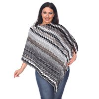 Plus Size White Mark Striped Fringe Poncho