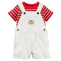 Baby Boy Carter's Striped Tee & Bear Shortalls Set