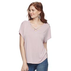 Juniors' Pink Republic Crisscross Tee