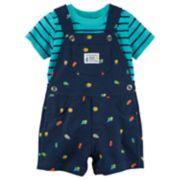 Baby Boy Carter's Striped Tee & Bugs Shortalls Set