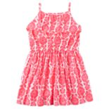 Toddler Girl Carter's Pink Floral Patterned Ruffle Dress