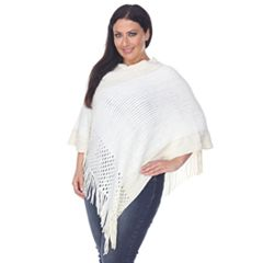 Plus Size White Mark Pointelle Fringe Poncho
