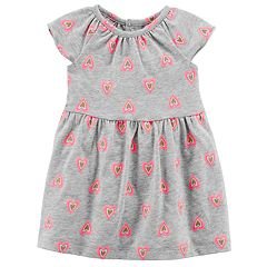 Baby Girl Carter's Glitter Neon Heart Pattern Knit Dress
