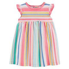 Baby Girl Carter's Multi-Colored Pastel Striped Flutter Dress