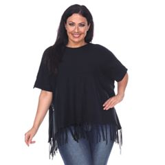Plus Size White Mark Button Fringe Poncho