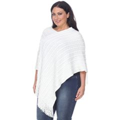 Plus Size White Mark Textured Fringe Poncho