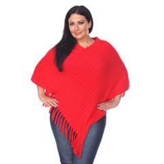 Plus Size White Mark Solid Fringe Poncho