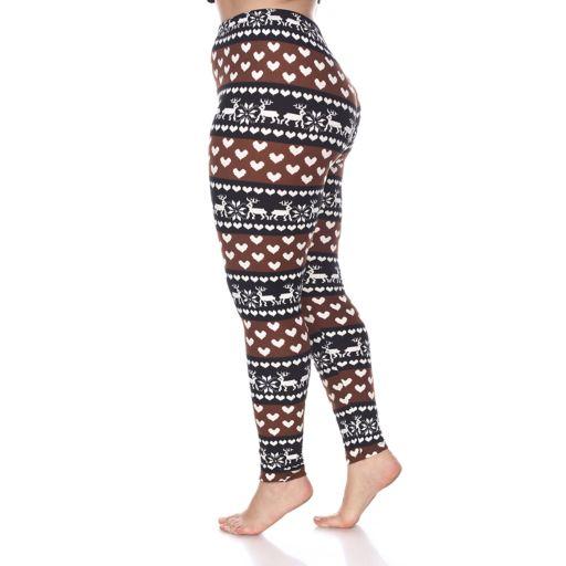 Plus Size White Mark Holiday Printed Leggings