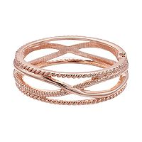 Textured X Hinge Bangle Bracelet