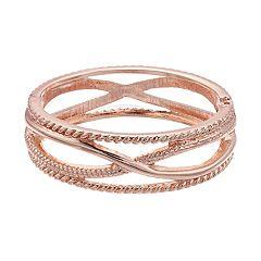 Textured X Hinge Bangle Bracelet