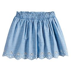 Girls 4-12 SONOMA Goods for Life™ Scallop Hem Eyelet Chambray Skort
