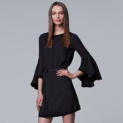 Women's Simply Vera Vera Wang Bell-Sleeve Black Dress