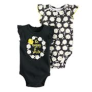Baby Girl Baby Starters 2-pk. Rosette Graphic & Floral Print Bodysuits