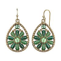 1928 Flower Twisted Teardrop Earrings