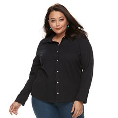 Plus Size Croft & Barrow® Solid Button-Down Shirt