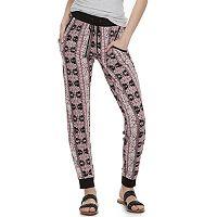 Juniors' Pink Rose Loose Jogger Pants