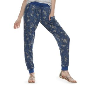 Juniors' Pink Rose Loose Jogger Pants