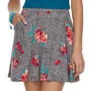 Juniors' SO® Floral Skater Skirt