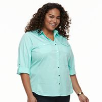 Plus Size Croft & Barrow® Knit-to-Fit Roll-Tab Shirt