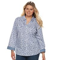 Plus Size Croft & Barrow® Knit-to-Fit Roll-Tab Shirt