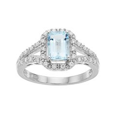 Sterling Silver Aquamarine & Cubic Zirconia Halo Ring