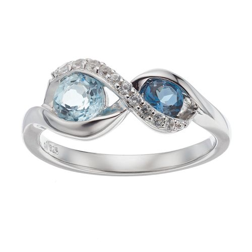 Sterling Silver Blue Topaz & Lab-Created White Sapphire Infinity Ring