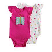 Baby Girl Baby Starters 2 pkButterfly & Polka-Dot Bodysuits