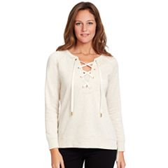 Women's Gloria Vanderbilt French Terry Lace-Up Top