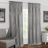 Achim 1-Panel Willow Embroidered Leaf Sheer Window Curtain