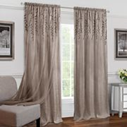 Achim Willow Embroidered Leaf Sheer Window Curtain