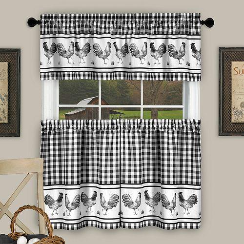 Achim Barnyard Rooster Plaid Tier & Valance Kitchen Curtain Set