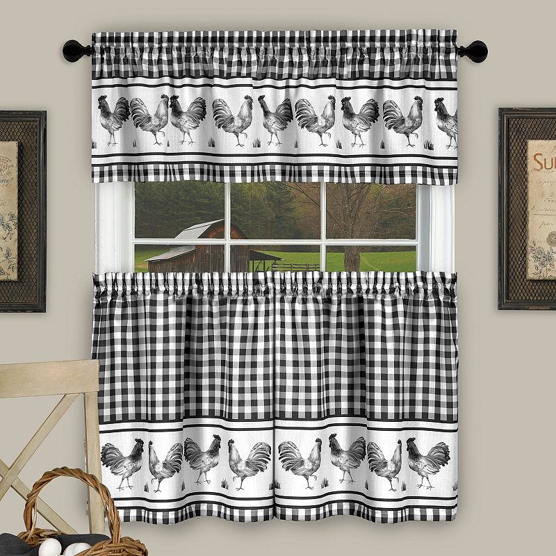 Blue Green Kitchen Curtains: Achim Barnyard Rooster Plaid Tier & Valance Kitchen