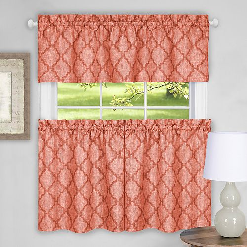 Achim Colby Trellis Tier & Valance Kitchen Curtain Set