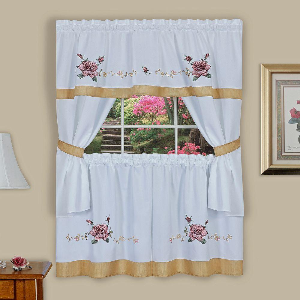 Achim Rose Cross Stitch Embroidered Tier & Swag Valance Kitchen Curtain Set