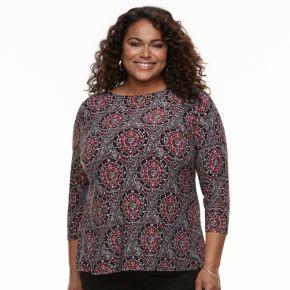 Plus Size Croft & Barrow® Knit Jacquard Tee