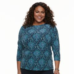 Plus Size Croft & Barrow® Knit Jacquard Tee