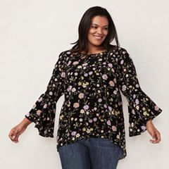 Plus Size LC Lauren Conrad Flutter Sleeve Top